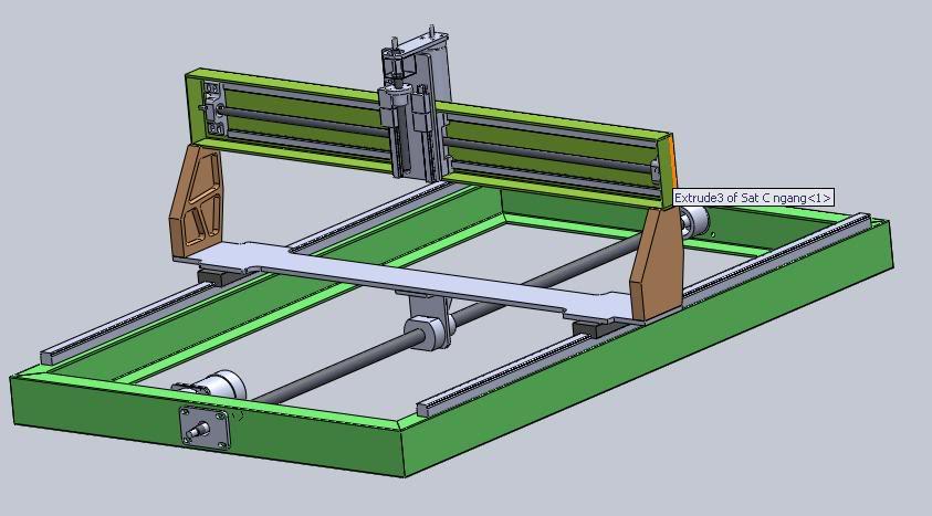 Hình ảnh mô phỏng thiết kế máy khắc gỗ CNC