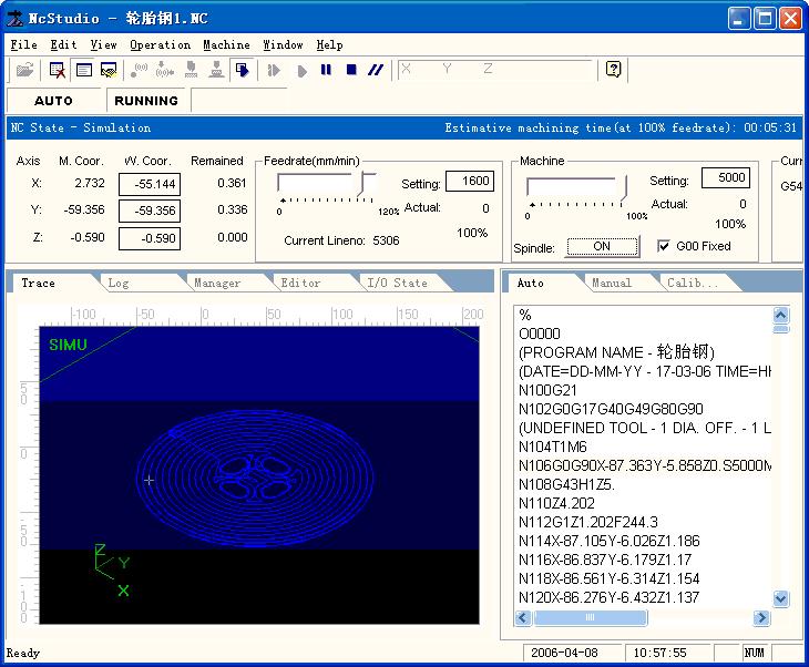 Giao diện phần mềm điều khiển CNC NcStudio