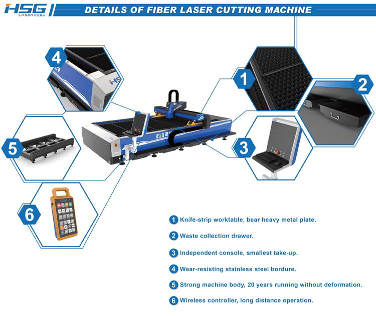 Mô tả thành phần máy cắt laser fiber (sợi quang học) HS-G3015C 1000w
