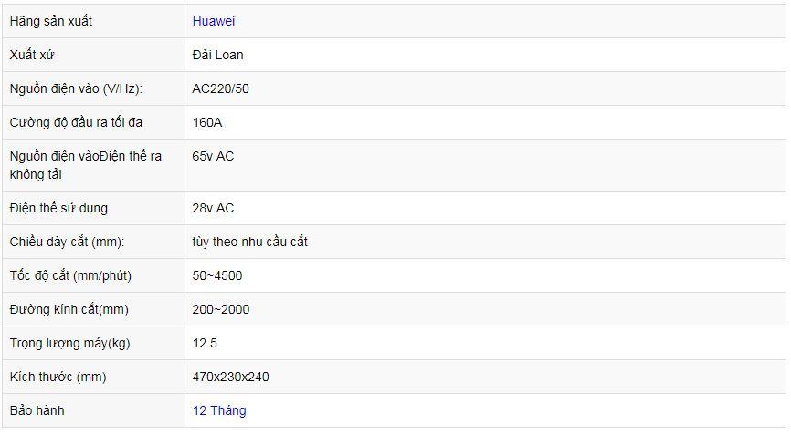 Thông số kỹ thuật rùa cắt Plasma Huawei CG1 30K